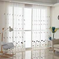 Корейский пасторальный стиль Гостиная Спальня Детская комната Стрекоза Вышитые шторы Grommet 2PCS 2x (57 ширина x 63 длина)