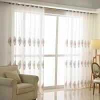 Европейский минималистский стиль Гостиная Спальня Ресторан Вышитые шторы Grommet 2PCS 2x (42 ширина x 63 длина)