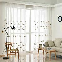 Корейский пасторальный стиль Гостиная Спальня Детская комната Бабочка Вышитые шторы Grommet 2PCS 2x (42 ширина x 63 длина)