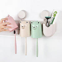 Аксессуары для ванных комнат Аксессуары для всасывающих колпачков Пшеница соломы для зубов Зубная щетка Зубная паста для зубных палочек 3 чашки