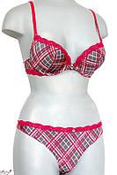 Модний комплект жіночої білизни з вставками з мережива - сіро-червоний 70В, 75B, 80B