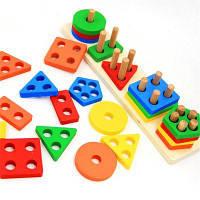 Цветная деревянная геометрическая сортировочная доска Цветной