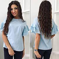 Голубая летняя женская шелковая блузка с рюшиками на плечах. Арт-4076/80