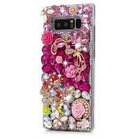 Для Galaxy Note 8 Case Luxury 3D Handmade Crystal Блестящие бриллианты Гриб Красочные драгоценные камни Rhinestone Clear Case Full Edge Розовый