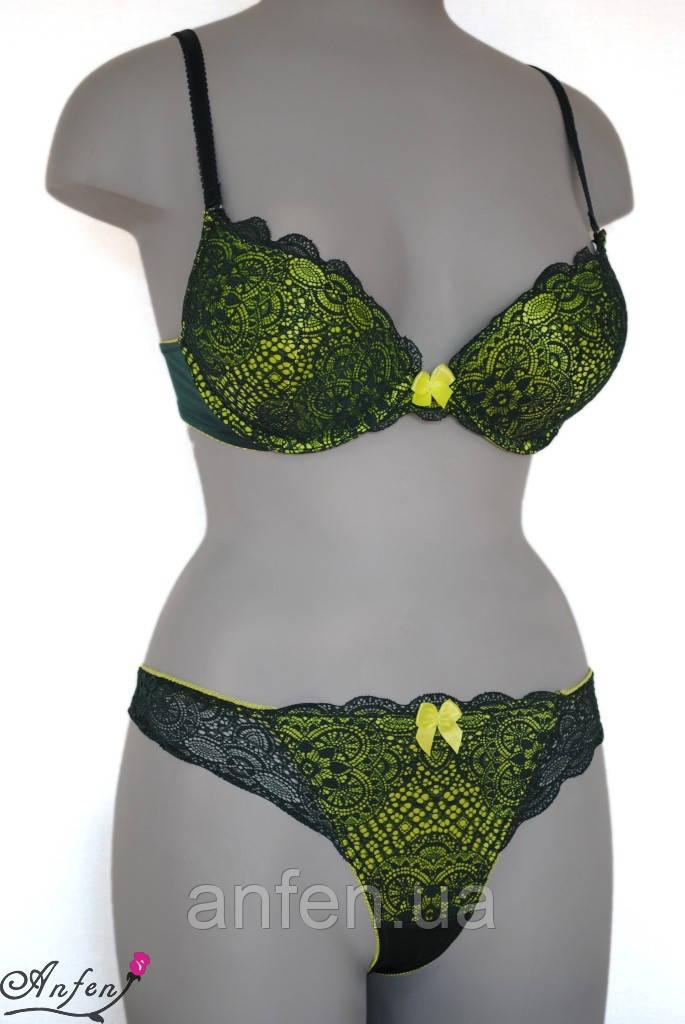 Фантастический комплект белья с манящим кружевом - 75C, 80C, 85C, 90C, зеленый