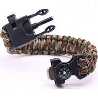 6 в 1 Многофункциональный браслет для выживания на открытом воздухе с крючками леской компасом камуфляжный