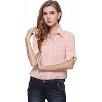 Женская розовая шифоновая рубашка Женщины большой размер с карманом один размер