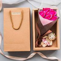 Искусственные розы День святого Валентина Подарочное мыло ручной работы с маленьким медведем Розовый