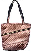 Стеганная сумка из плотной ткани,водонепроницаемая (каштан)32*29см