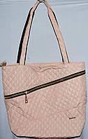 Стеганная сумка из плотной ткани,водонепроницаемая (пудра)32*29см