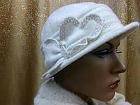 Шляпы RABIONEK из мягкой шерсти с цветком р-р 56-57, белый цвет