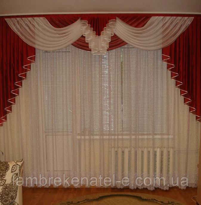 Ламбрекен красный в зал