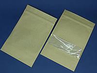 Крафт-пакет, дой-пак, с зип-застежкой и прозрачным окошком. 10шт. 13/20см, фото 1