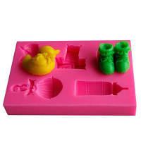 Facemile Lovely Duck Bottles Letters Обувь Детская игрушка Серия Форма Питьевая посуда Обеденный бар Торт Отделка Fondant Силиконовая форма Розовый