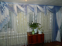 Ламбрекен в зал голубой