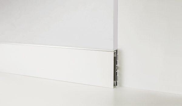 Металевий плінтус Profilpas Metal line 87/6 вставка Алюміній фарбований білий RAL9010