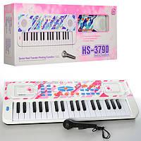 Детское Пианино Синтезатор HS3711A-1-3790B-1 37клавиш,8 рит,запись,8тон, микро,2цв,на бат,в кор,60-23,5