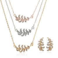 5PCS Мода Лист Шипованные Серьги Ожерелье Установить Золотой