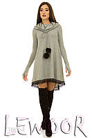 Теплое платье из ангоры с капюшоном