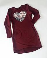 Сукня для дівчинки з кишенями з двонитки з паєтками, що міняються Платье для девочки с карманами из двунитки