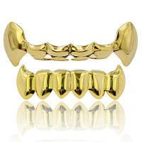 Хип-хоп 18K Золото Цвет Клыки вампира Зубы Грильц Золотой