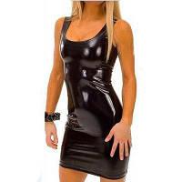 Женская танка Мини-платье Кожаная парфюмерия Клубная одежда Sexy Plus 3XL Размер XL