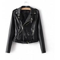 Застежка -молния PU Основная куртка пальто Классическая кожаная куртка Женская зимняя верхняя одежда и короткая мотоциклетная куртка 2017 XL