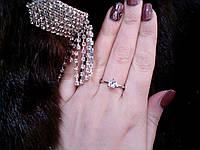 Кольцо с искусственным бриллиантом в серебре., фото 1