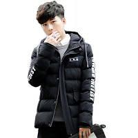 Мужские зимние перья Хлопчатобумажная одежда Slim Youth Casual Hooded Cotton Jacke XL