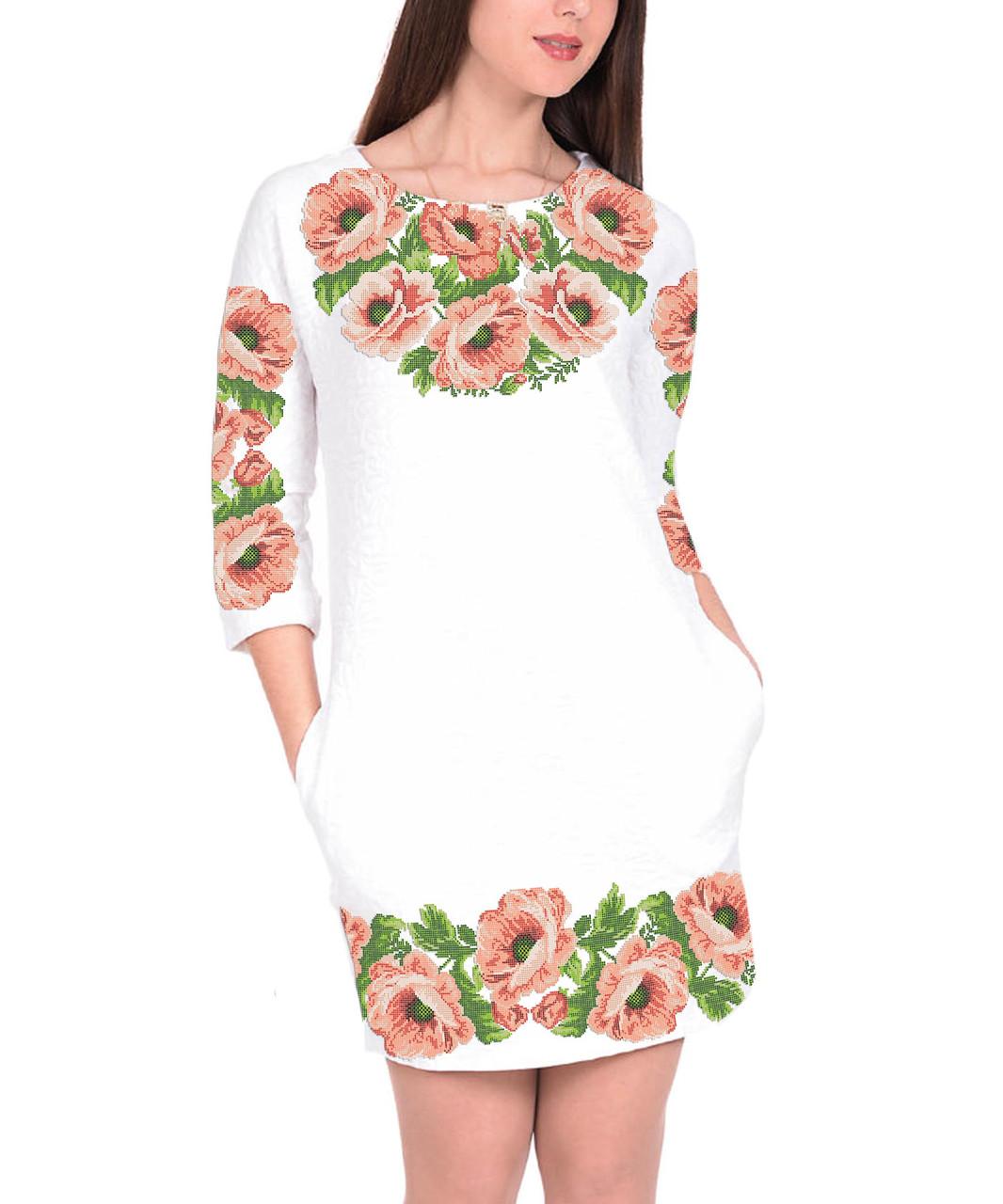 Заготовка жіночого плаття чи сукні для вишивки та вишивання бісером Бисерок  «Рожеві маки» (П-07 )