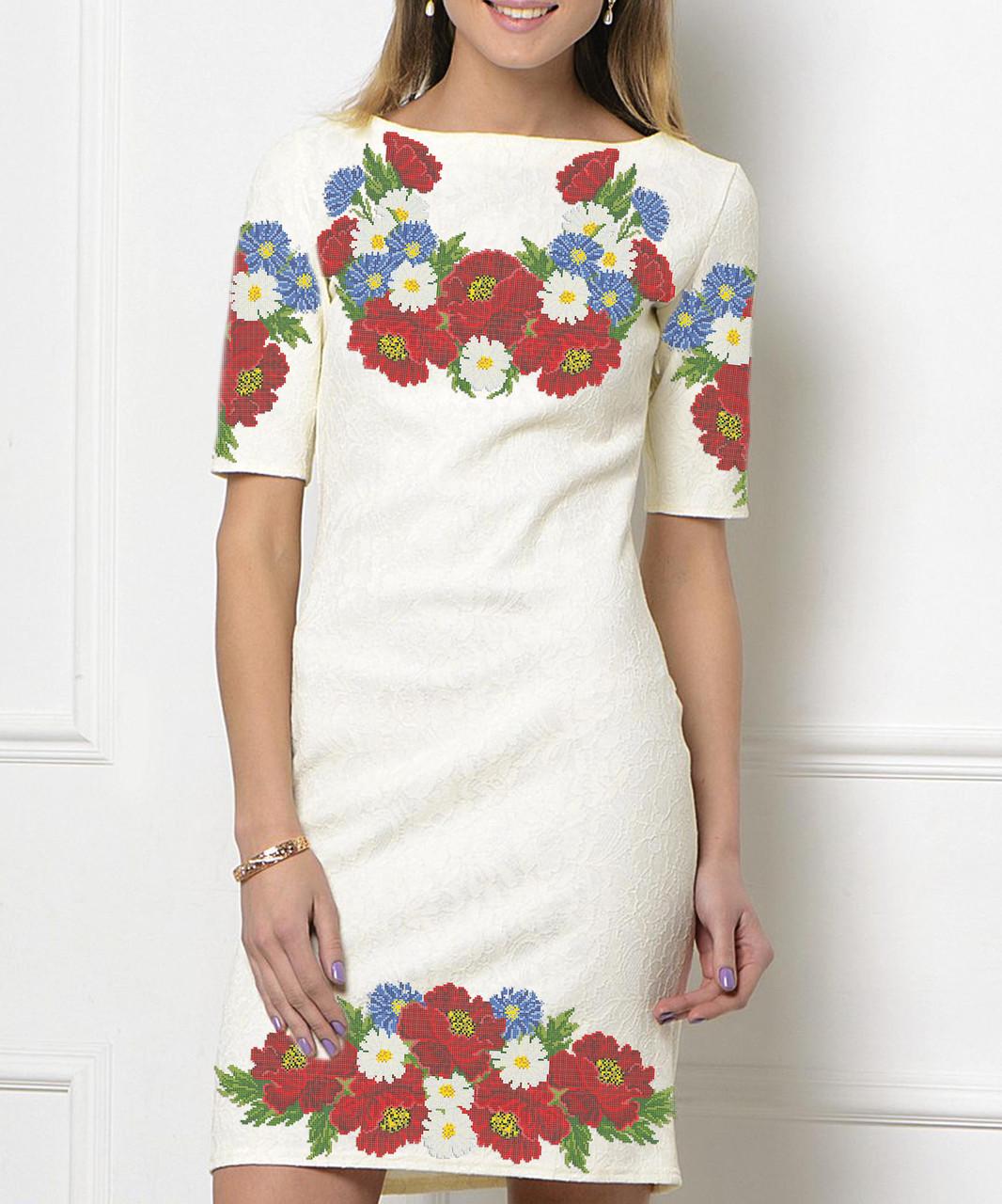 Заготовка жіночого плаття чи сукні для вишивки та вишивання бісером Бисерок  «Літній букет» (П-89 )