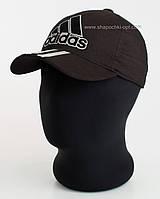 """Бейсболка спортивная """"Три полоски"""" черная с большим логотипом и серым накатом пятиклинка"""
