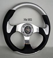 Руль спортивный №582 серый с переходником на ВАЗ 1118.