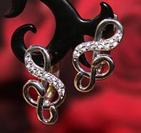 Серьги Скрипичные ключики серебряные с фианитами