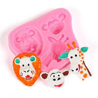 Жиражи из льва животных Monkey Candy Jello 3D силиконовые пресс-формы для мультяшного торта Sugarcraft Силиконовая форманая глина / резина Розовый