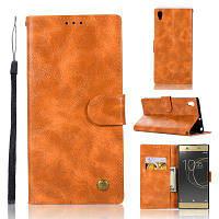 Модный флип-кожаный чехол PU Кошелек Защитные чехлы для Sony Xperia XA1 Ultra G3221 / G3226 Сумки для телефона с подставкой Цвет цитруса