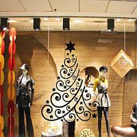 Декоративный настенный стикер наклейка в рождественском стиле украшение для дома Чёрный
