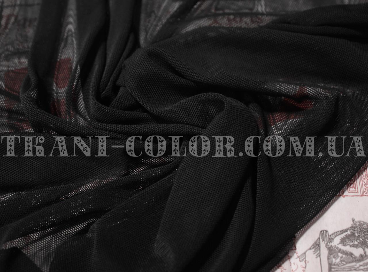 Ткань сетка стрейч черная