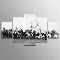 YSDAFEN 5 панель Современные коренные американцы Черное и белое холстина для гостиной 30x40cмx2+30x60cмx2+30x80cмx1 (12x16дюймовx2+12x24дюйм