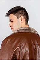 Теплая куртка из экокожи с меховой подкладкой. (Коричневый). Арт-705K002.5
