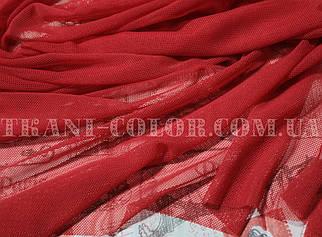 Ткань сетка стрейч красная