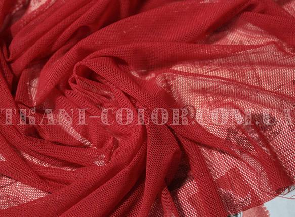 Ткань сетка стрейч красная, фото 2