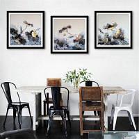 Специальная конструкция Каркасная живопись Картина чернил Lotus Print 3PCS 16 x 16 дюймов (40cм x 40cм)