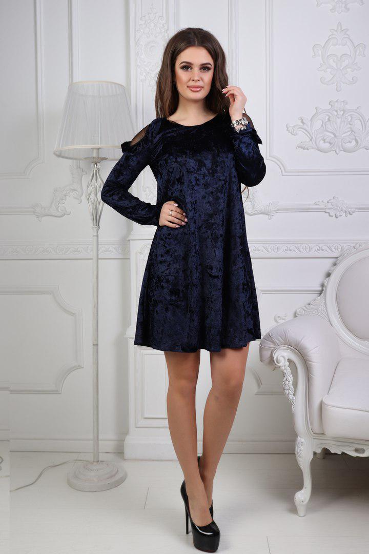 0dbdac27186 Нарядное платье трапецией с вырезами на плечах бархат размеры 42 44 46 48