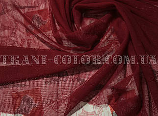 Ткань сетка стрейч бордовая
