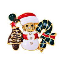 Рождественский подарок цветов Эмалированный снеговик Брошь штыри на Рождество в золоте Цвет покрыл Разноцветный
