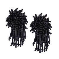 Простые хрустальные бусины Кисти Многоцветные серьги ручной работы Чёрный
