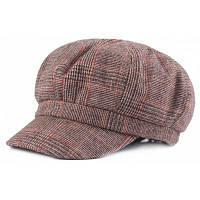 Женщины вскользь теплые ретро плед Beret Hat Хаки