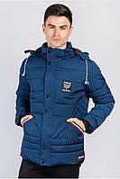 Теплая мужская удлиненная куртка на экомеху. (Синий). Арт-19P059.5