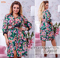 Платье женское принт цветы Большого размера